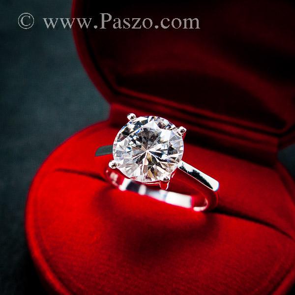 แหวนเพชรเม็ดเดี่ยว แหวนเงิน แหวนเพชร #2