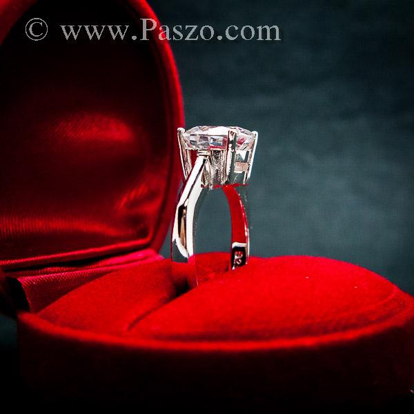 แหวนเพชรเม็ดเดี่ยว แหวนเงิน แหวนเพชร #4