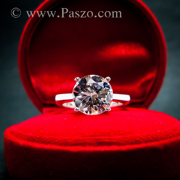 แหวนเพชรเม็ดเดี่ยว แหวนเงิน แหวนเพชร #5