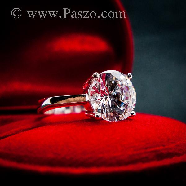 แหวนเพชรเม็ดเดี่ยว แหวนเงิน แหวนเพชร #7