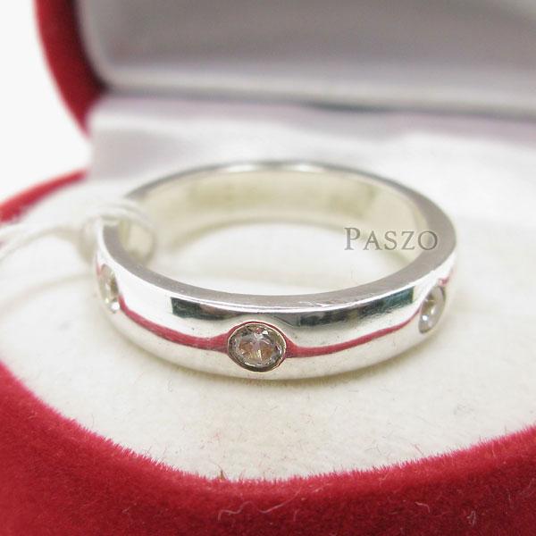 แหวนเพชร 3เม็ด กว้าง4มิล #5