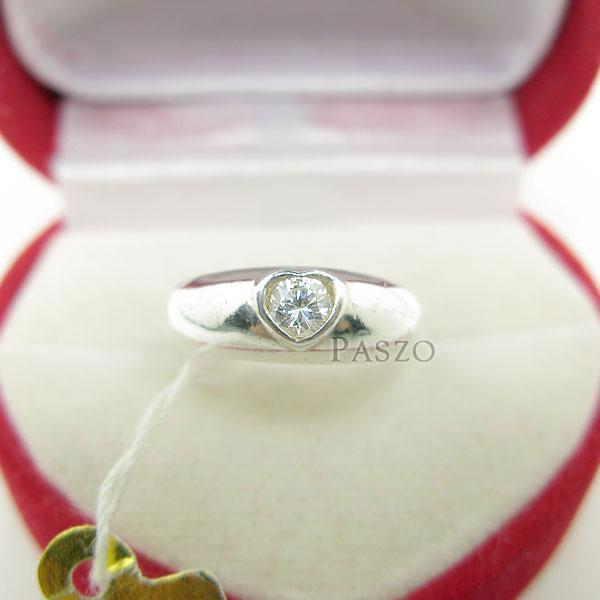 แหวนเพชร หัวใจ แหวนเงินฝังเพชร #3