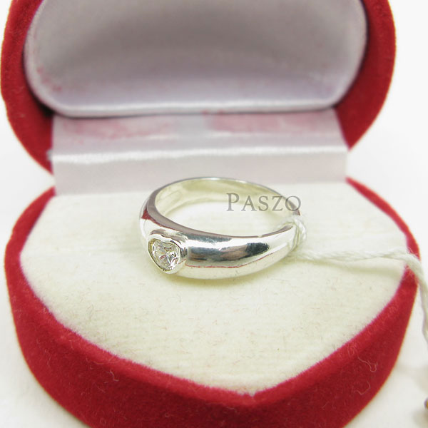 แหวนเพชร หัวใจ แหวนเงินฝังเพชร #5