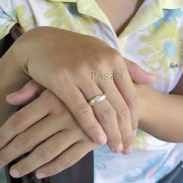 แหวนเพชร หัวใจ แหวนเงินฝังเพชร #6