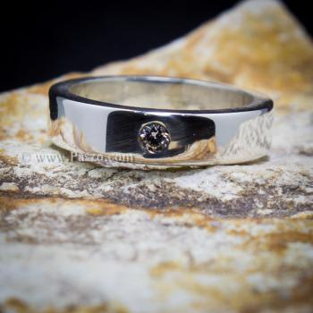 แหวนเพชรเม็ดเดี่ยว กว้าง4มิล แหวนเงิน #6
