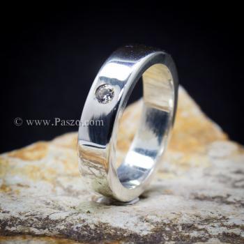 แหวนเพชรเม็ดเดี่ยว กว้าง4มิล แหวนเงิน #7