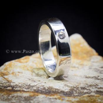 แหวนเพชรเม็ดเดี่ยว กว้าง4มิล แหวนเงิน #8