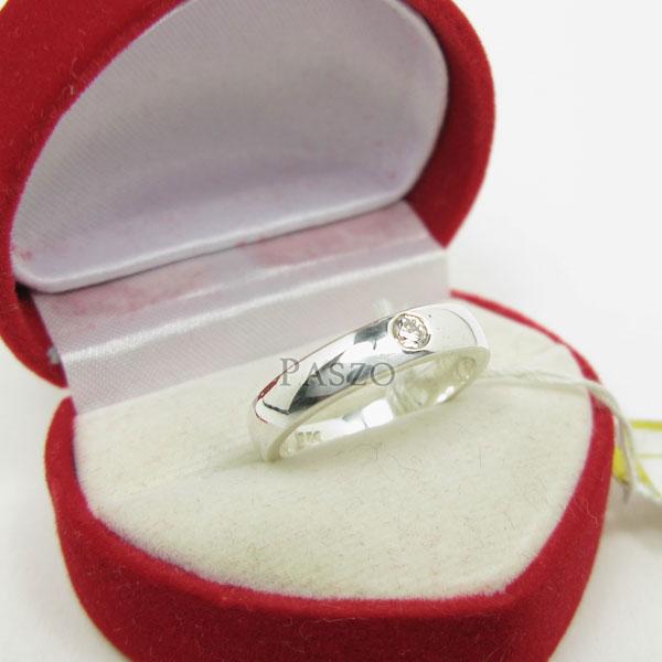 แหวนเพชรเม็ดเดี่ยว กว้าง4มิล แหวนเงิน #2