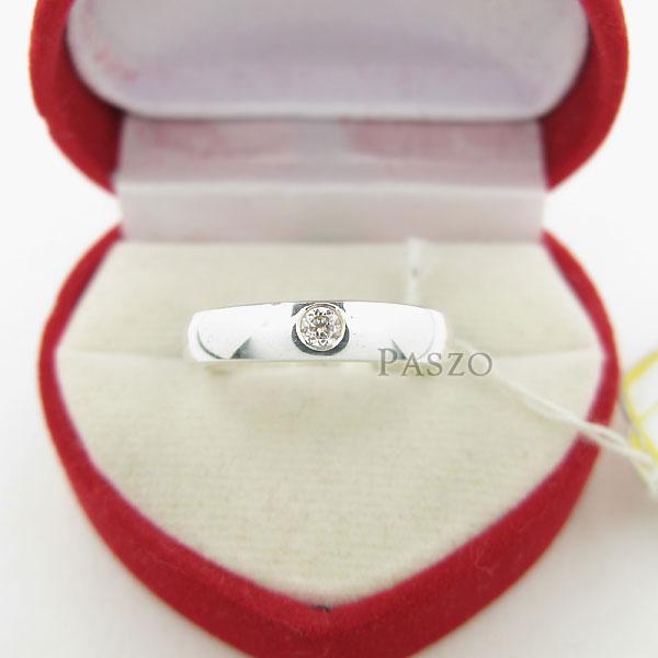 แหวนเพชรเม็ดเดี่ยว กว้าง4มิล แหวนเงิน #3
