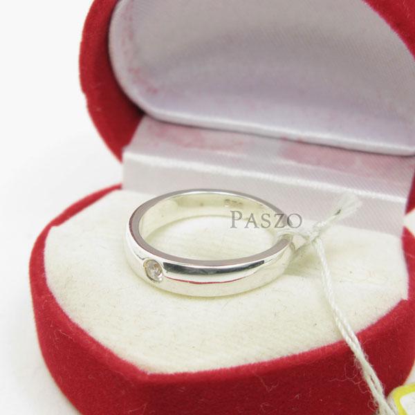 แหวนเพชรเม็ดเดี่ยว กว้าง4มิล แหวนเงิน #4