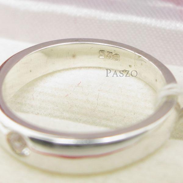 แหวนเพชรเม็ดเดี่ยว กว้าง4มิล แหวนเงิน #5