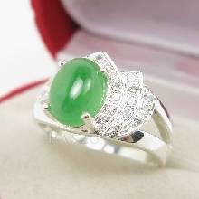 แหวนหยก ประดับเพชร น้ำงาม ตัวแหวนเงินแท้