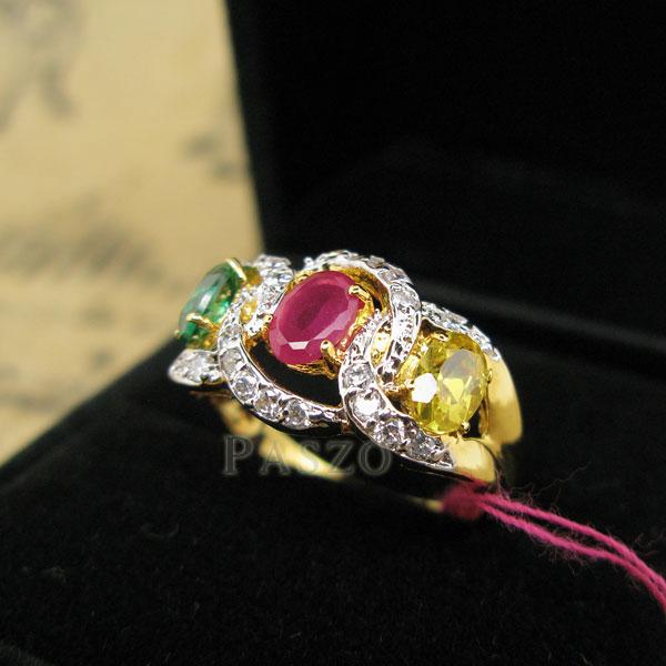 เพชรมรกต: แหวนพลอยนพเก้า ประดับเพชร พลอยมรกต ทับทิม บุษราคัม ตัวแหวน