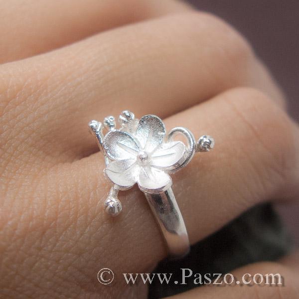แหวนดอกไม้ แหวนเงินแท้  #4