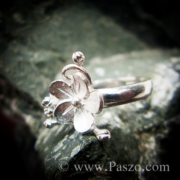 แหวนดอกไม้ แหวนเงินแท้  #8