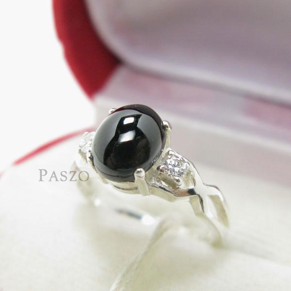 แหวนนิลแท้ เจียรหลังเบี้ย บ่าข้างแหวนฝังเพชร #2