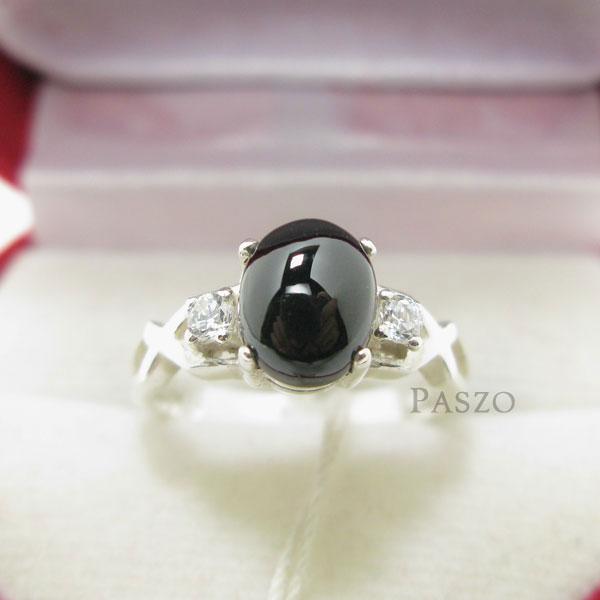 แหวนนิลแท้ เจียรหลังเบี้ย บ่าข้างแหวนฝังเพชร #3