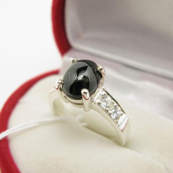 แหวนนิล ฝังเพชรบ่าข้าง ตัวเรือนแหวนเงินแท้ #2