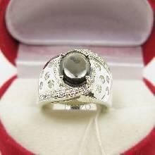 แหวนพลอยแบล็คสตาร์ Black Star ฝังเพชร ตัวแหวนเงินแท้