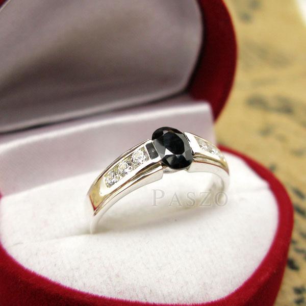 แหวนนิล แหวนพลอยสีดำ ประดับเพชร #2