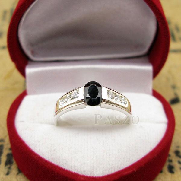 แหวนนิล แหวนพลอยสีดำ ประดับเพชร #3