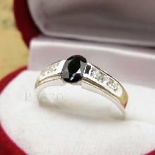 แหวนนิล แหวนพลอยสีดำ ประดับเพชร แหวนเงินแท้ 925