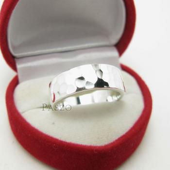 แหวนลายค้อนทุบ หน้ากว้าง8มิล แหวนเงินแท้ #3