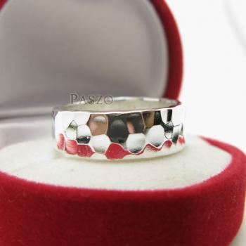 แหวนลายค้อนทุบ หน้ากว้าง8มิล แหวนเงินแท้ #5