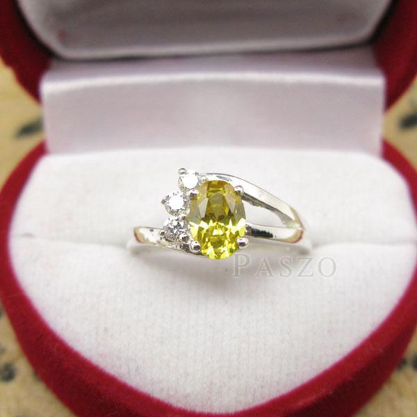 แหวนพลอยบุษราคัม พลอยสีเหลือง บ่าฝังเพชร #2
