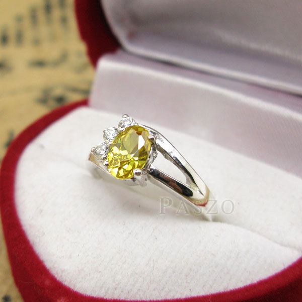 แหวนพลอยบุษราคัม พลอยสีเหลือง บ่าฝังเพชร #3