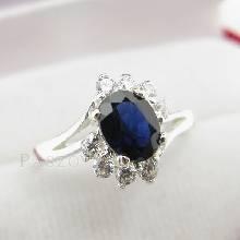 แหวนพลอยไพลิน พลอยสีน้ำเงิน ประดับเพชร แหวนเงินแท้