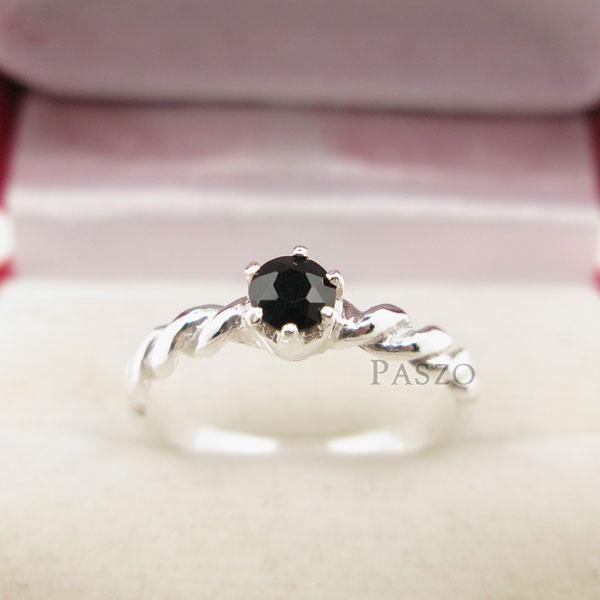 แหวนเงินเกลียว ฝังนิล อัญมณีสีดำ #2