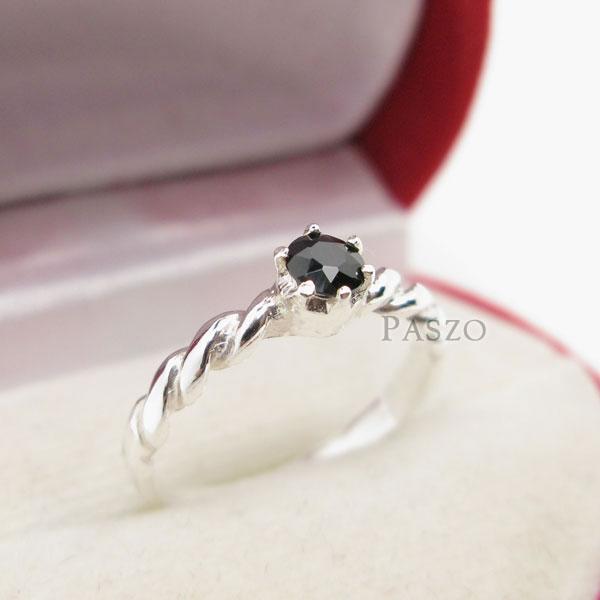 แหวนเงินเกลียว ฝังนิล อัญมณีสีดำ #3