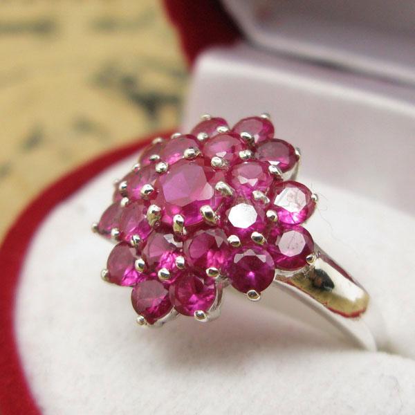 แหวนพลอยทับทิม แหวนพลอยสีแดง พลอยหลายเม็ด #3
