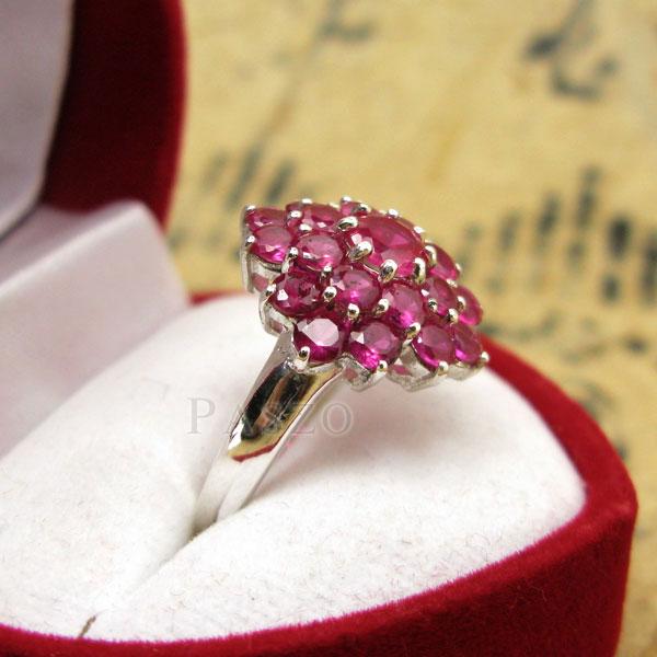 แหวนพลอยทับทิม แหวนพลอยสีแดง พลอยหลายเม็ด #4