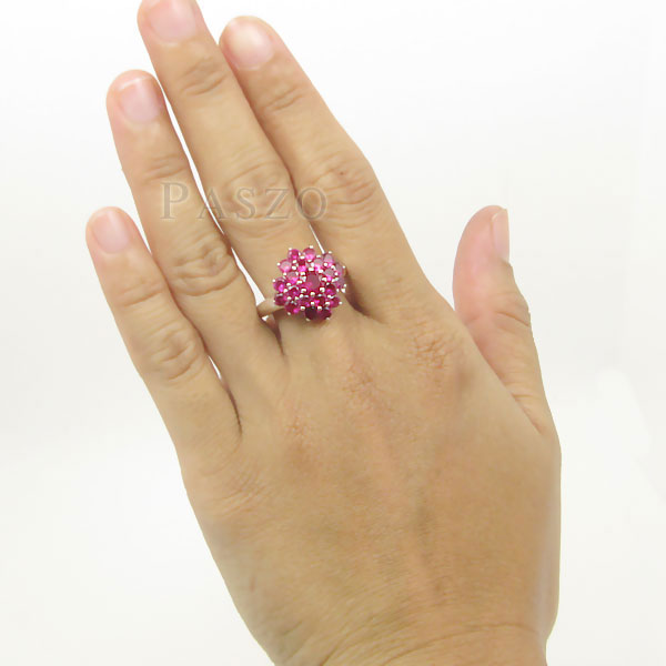 แหวนพลอยทับทิม แหวนพลอยสีแดง พลอยหลายเม็ด #5