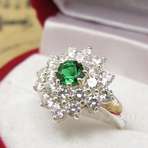 เพชรมรกต: แหวนพลอยมรกต ล้อมเพชร แหวนพลอยสีเขียว เม็ดกลม PZ