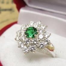 แหวนพลอยมรกต ล้อมเพชร แหวนพลอยสีเขียว เม็ดกลม