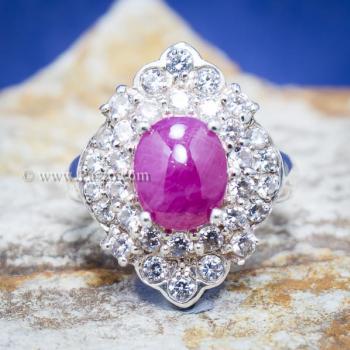 แหวนเงิน แหวนกินบ่อเซี่ยง ทับทิม #6