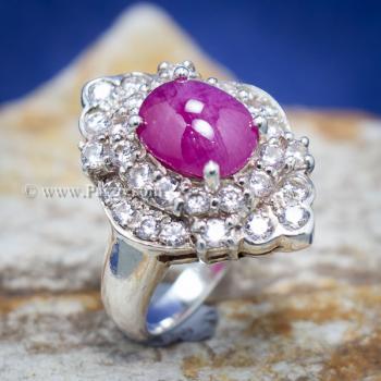 แหวนเงิน แหวนกินบ่อเซี่ยง ทับทิม #5