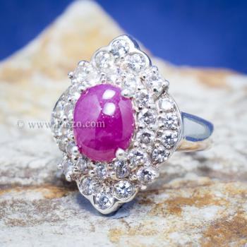แหวนเงิน แหวนกินบ่อเซี่ยง ทับทิม #7
