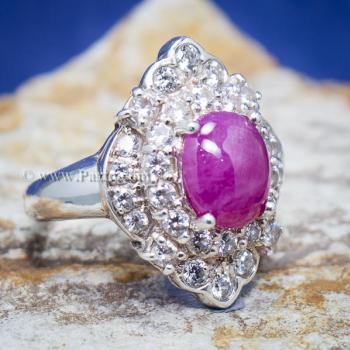 แหวนเงิน แหวนกินบ่อเซี่ยง ทับทิม #8