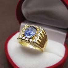 แหวนไพลินผู้ชาย แหวนทองผู้ชาย ฝังพลอยสีน้ำเงิน ล้อมเพชร แหวนทองแท้ แหวนทรงสี่เหลี่ยม