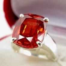 แหวนพลอยโกเมน สีส้ม พลอยเม็ดเดียว แหวนเงินแท้ 925 แหวนขนาดใหญ่