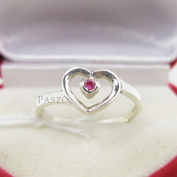 แหวนเงินแท้ รูปหัวใจ ฝังพลอยทับทิม #2