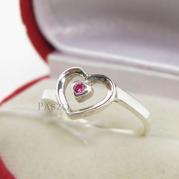 แหวนเงินแท้ รูปหัวใจ ฝังพลอยทับทิม #3