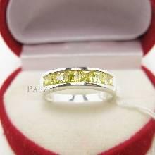แหวนบุษราคัม แหวนพลอยสีเหลือง 6เม็ด แหวนเงินแท้ แหวนแถว เม็ดสี่เหลี่ยม