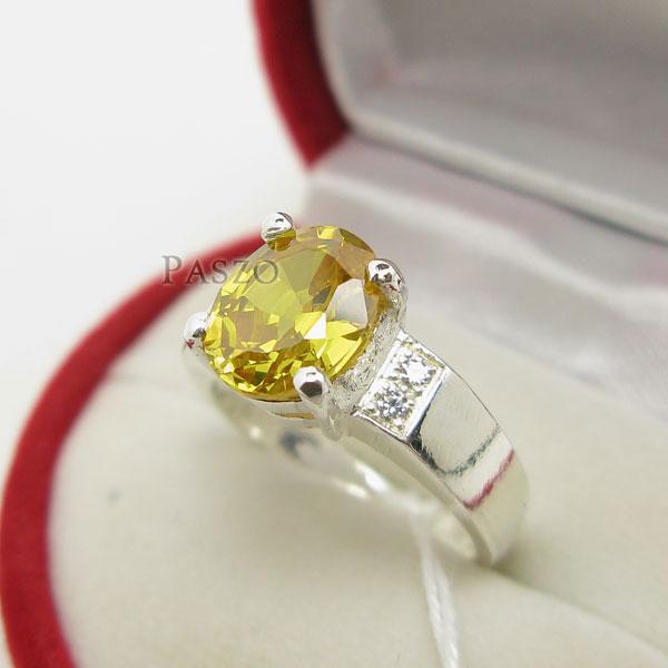 แหวนพลอยสีเหลือง บ่าเพชร แหวนเงินแท้ #2
