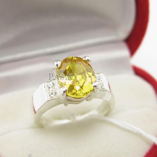แหวนพลอยสีเหลือง บ่าเพชร แหวนเงินแท้ #3