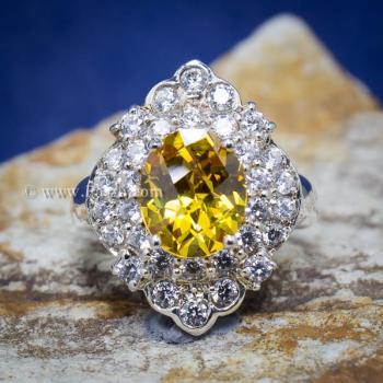 แหวนพลอยบุษราคัม แหวนเงิน ล้อมเพชร #3